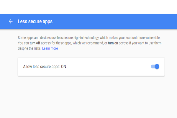 gmail less secure apps setting